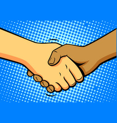 comics shake hands vector image