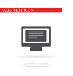 computer monitor icon flat style design vector image