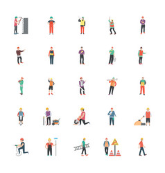 Construction worker flat icons vector