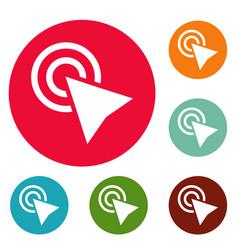 cursor click element icons circle set vector image
