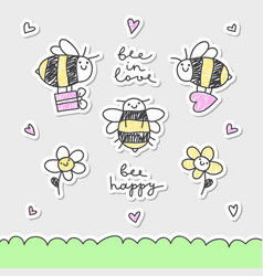 Cute bees set vector