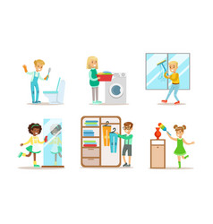 cute children doing housework set boys and girls vector image