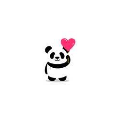 Cute panda with heart balloon cartoon icon vector