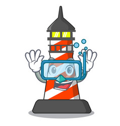Diving cartoon realistic red lighthouse building vector