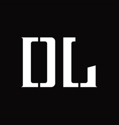 Dl logo monogram with middle slice design template vector