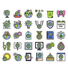 Earth day related icon set 2 filled style vector