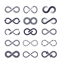 Eternity symbols monochrome icon vector