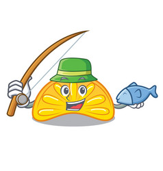 Fishing orange jelly candy mascot cartoon vector