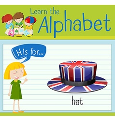 Flashcard alphabet h is for hat vector