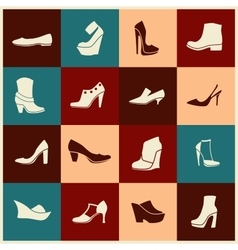 Flat icons with different kinds of shoes vector