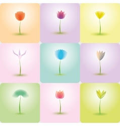Flowers icon set nature background vector image
