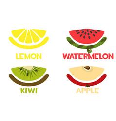 fruit slices icons fresh lemon apple kiwi vector image