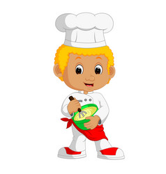 Funny cartoon chef boy making cake vector