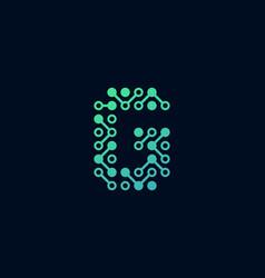 G circuit digital letter logo icon design vector