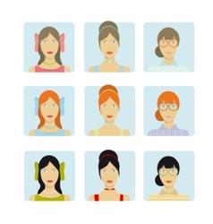 Girl faces icon set vector image
