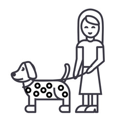 girl with dog line icon sign vector image