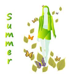 Girls models seasons summer in light colors vector