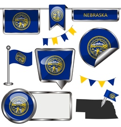 Glossy icons with Nebraskan flag vector