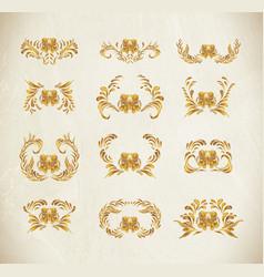 Golden floral pattern ethnic flower ornament vector