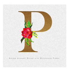 Golden letter p watercolor floral background vector