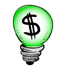 Green light bulb with dollar symbol inside vector image