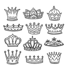 Hand drawn crowns king queen doodle crown and vector
