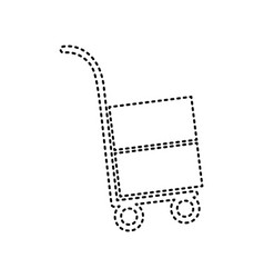 hand truck sign black dashed icon on vector image