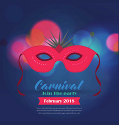 happy brazilian carnival day red carnival mask vector image