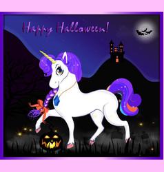 happy halloween greeting card of magical unicorn vector image