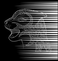 Head of a wild cat zen tangle scratch from vector