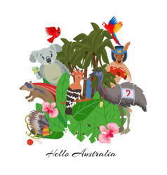 hello australia lettering cute wild animals vector image