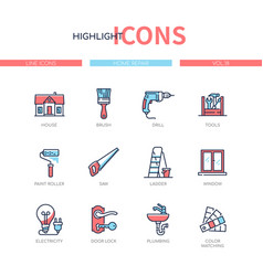 Home repair - line design style icons set vector