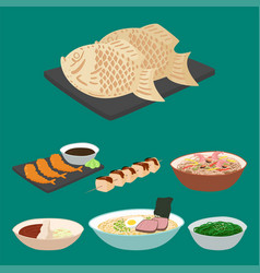 Japan food traditional meal cooking culture vector