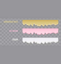 liquid condensed milk ice cream and cream vector image