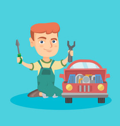 little caucasian boy repairing a toy car vector image