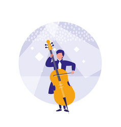 man playing cello avatar character vector image