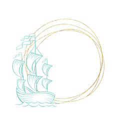Marine wreath golden frame ship and sea waves art vector