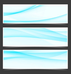 Modern satin blue line flyers set vector