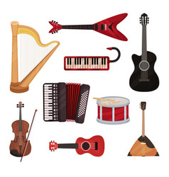 musical instruments set harp synthesizer vector image
