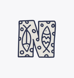 N letter logo with fishes in nordic folk art vector