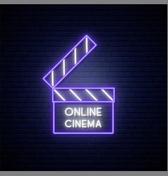 neon movie clapper sign online movie bright vector image