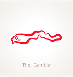 Outline map of the gambia marked with red line vector