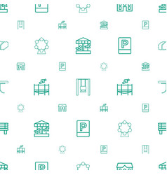 Park icons pattern seamless white background vector