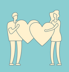 people with heart in hands vector image