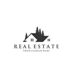 Real estate with trees logo vector