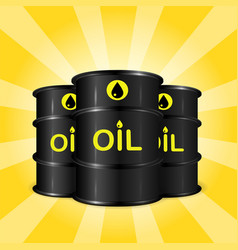 Realistic oil barrels on sunray background vector