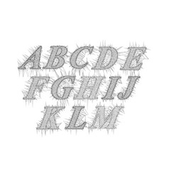 retro slanted font and alphabet in style voronoi vector image