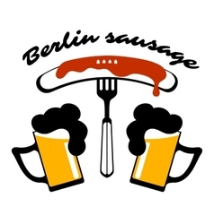 Sausage on a fork and two mugs of beer vector image