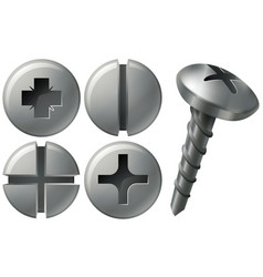 Screw and nailheads in different designs vector