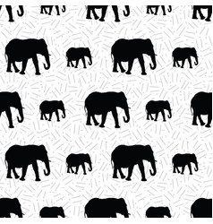 seamless pattern created from elephant silhouettes vector image